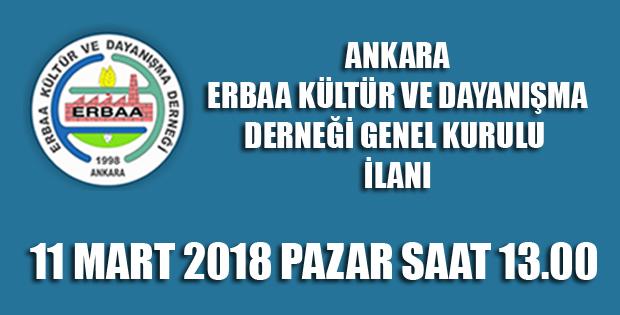 Ankara, Erbaa Kültür ve Dayanışma Derneği Genel Kurul İlanı