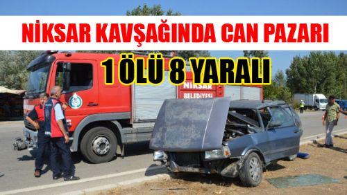 Otomobiller Çarpıştı: 1 Ölü, 8 Yaralı