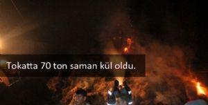 Turhal'da yaklaşık 70 ton saman kül oldu