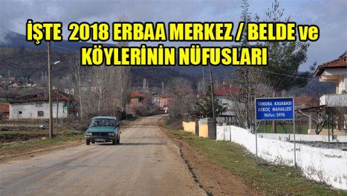 2018 YILI ERBAA MERKEZ BELDE VE KÖY NÜFUS RAKAMLARI
