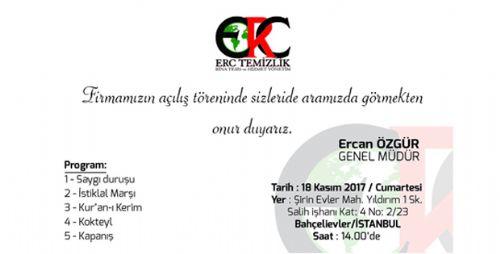 ERC TEMİZLİK BİNA TESİS VE HİZMET YÖNETİMİ AÇILIYOR