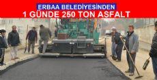 Erbaa Belediyesi Bir Günde 250 Ton Asfalt Döktü.