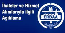 Erbaa Belediyesi İhaleler ve Hizmet Alımlarıyla ilgili Açıklama