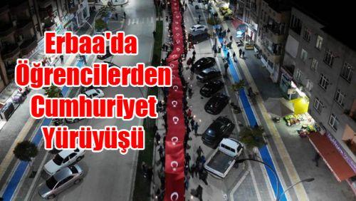 Erbaa'da Öğrencilerden Cumhuriyet Yürüyüşü