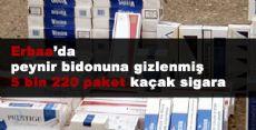 Erbaa'da peynir bidonuna gizlenmiş 5 bin 220 paket kaçak sigara