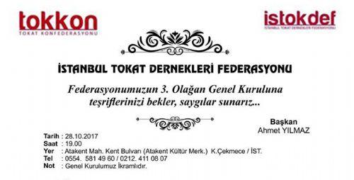 İSTANBUL TOKAT DERNEKLERİ FEDERASYONU GENEL KURUL DAVETİ