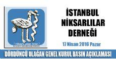 İstanbul Niksarlılar Derneği Genel Kurul İlanı