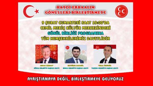 MHP ERBAA VE BELDE BAŞKAN ADAYLARI BU CUMARTESİ İSTANBUL'DA HEMŞEHRİLERİYLE BULUŞACAK