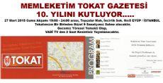 Memleketim Tokat Gazetesi 10. Yılını Kutluyor