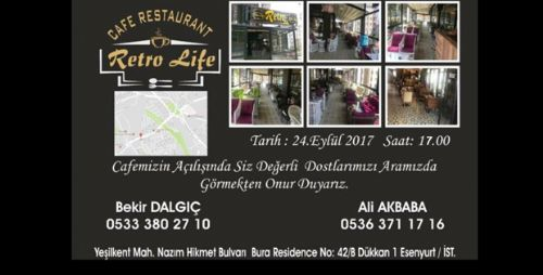 RETRO LİFE CAFE RESTAURANT 24 EYLÜL'DE AÇILIYOR