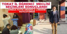 TOKAT İL ÖĞRENCİ  MECLİSİNE ERBAA'LI BAŞKAN