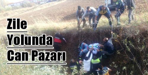Zile'da Otomobil Dereye Uçtu: 1 Yaralı